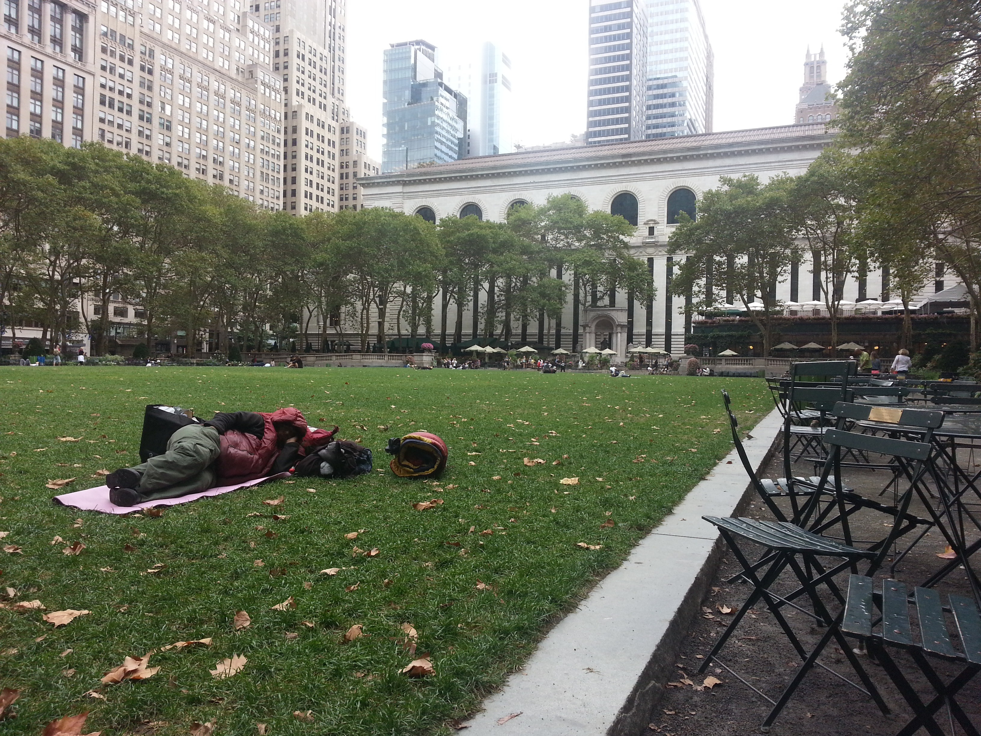 Homeless sleeping in Bryant Park