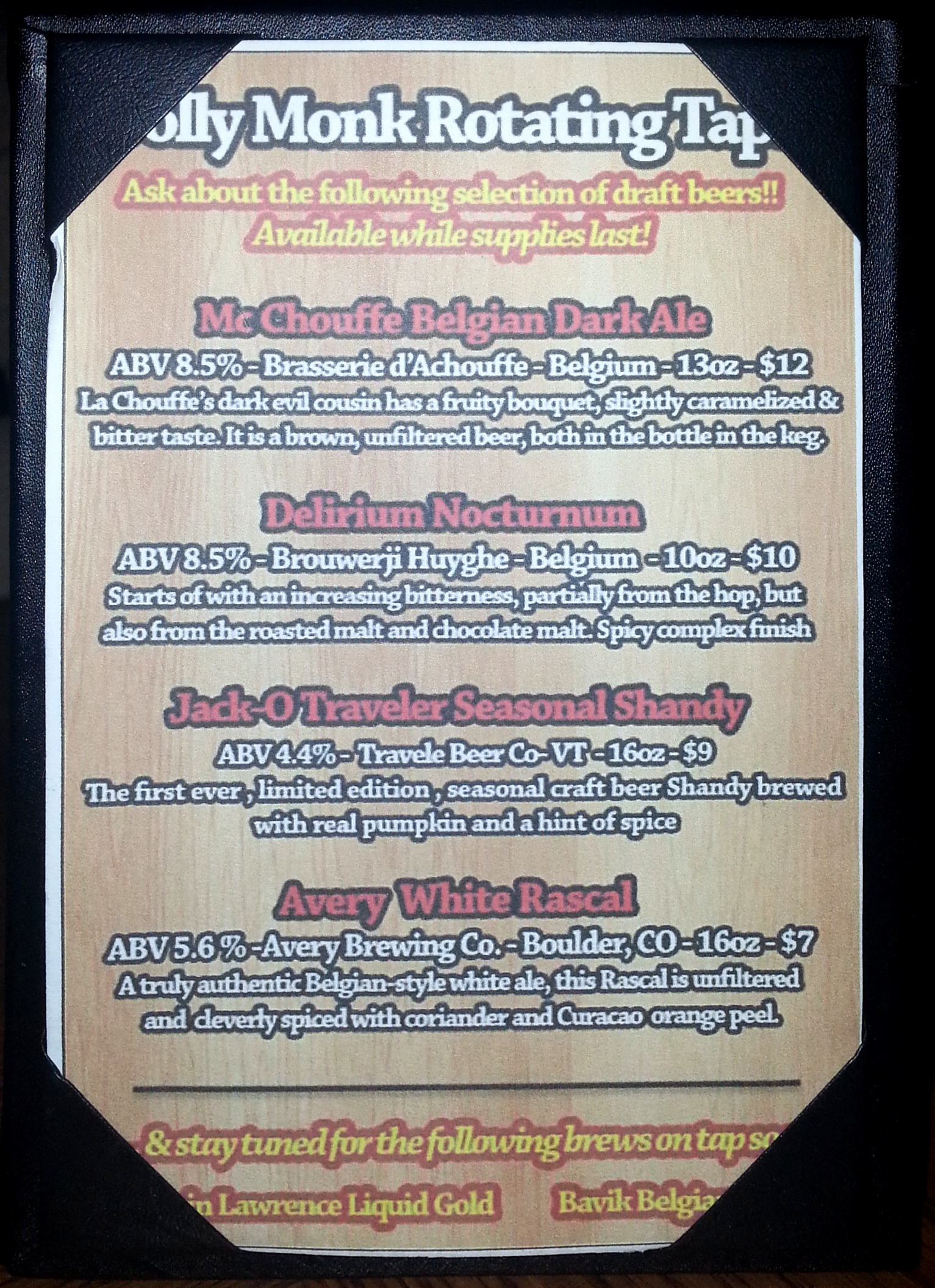 Jolly Monk menu